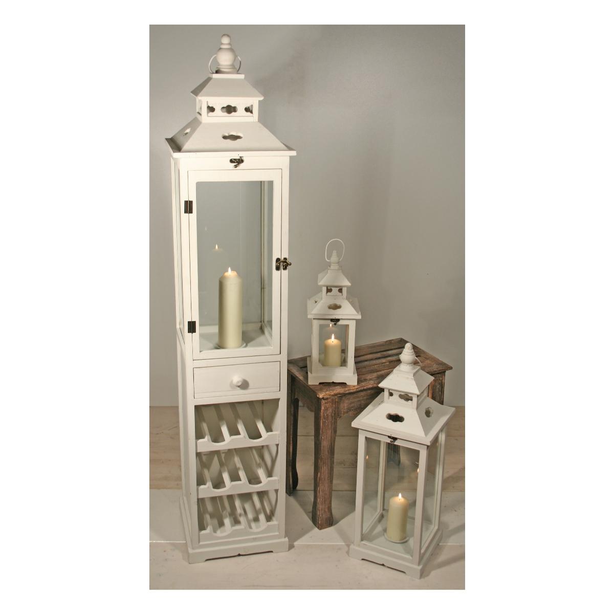 laternen aus holz mit weinablage 3er set haushalt und putzen. Black Bedroom Furniture Sets. Home Design Ideas